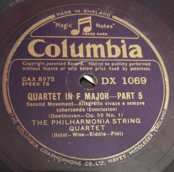 Quartet in F Major Part 05 78 RPM Record By Beethoven DX 1071 www.mossymart.com