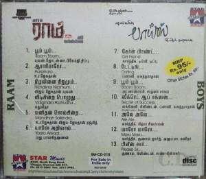 Raam - Boys - Tamil Audio CD by Yuvan Shankar Raja - A.R. Rahman - www.mossymart.com (2)