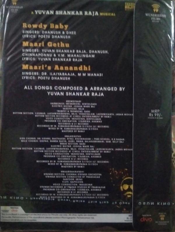 Maari 2 Tamil Film Audio CD by Yuvan Shankar Raja www.mossymart.com