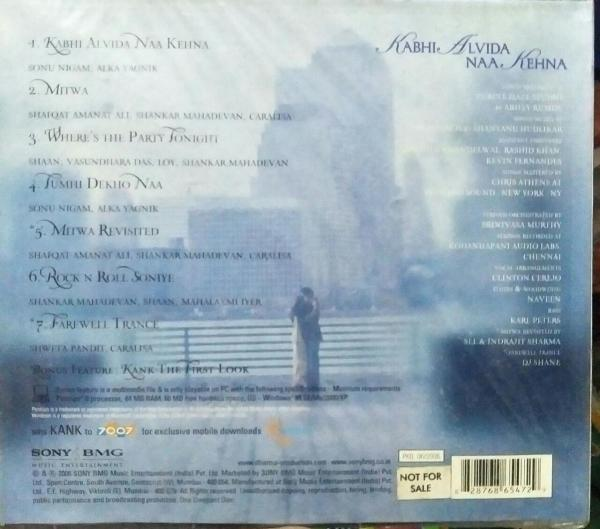 Kabhi Alvida Naa Kehna Hindi FIlm Audio CD www.mossymart.com