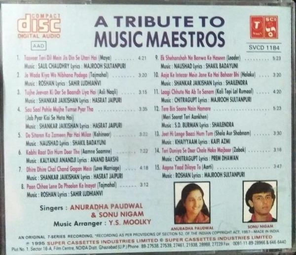 A Tribute to Music Maestros Hindi Film Audio CD www,mossymart.com