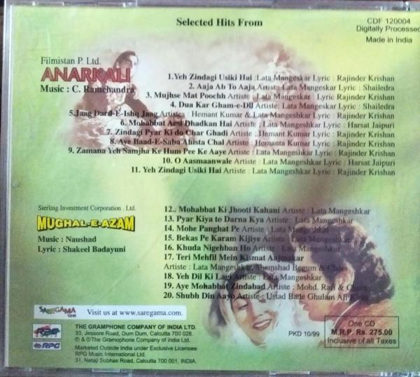 Anarkali - Mughal-E-Azam - Hindi Audio CD by Naushad - C. Ramachandra - www.mossymart.com