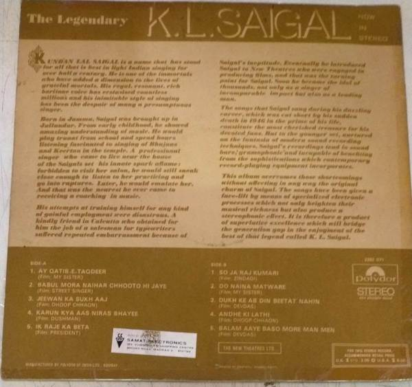 The Legendary K.L Saigal Hindy Film hits LP Vinyl Reoords www.mossymart.com 2