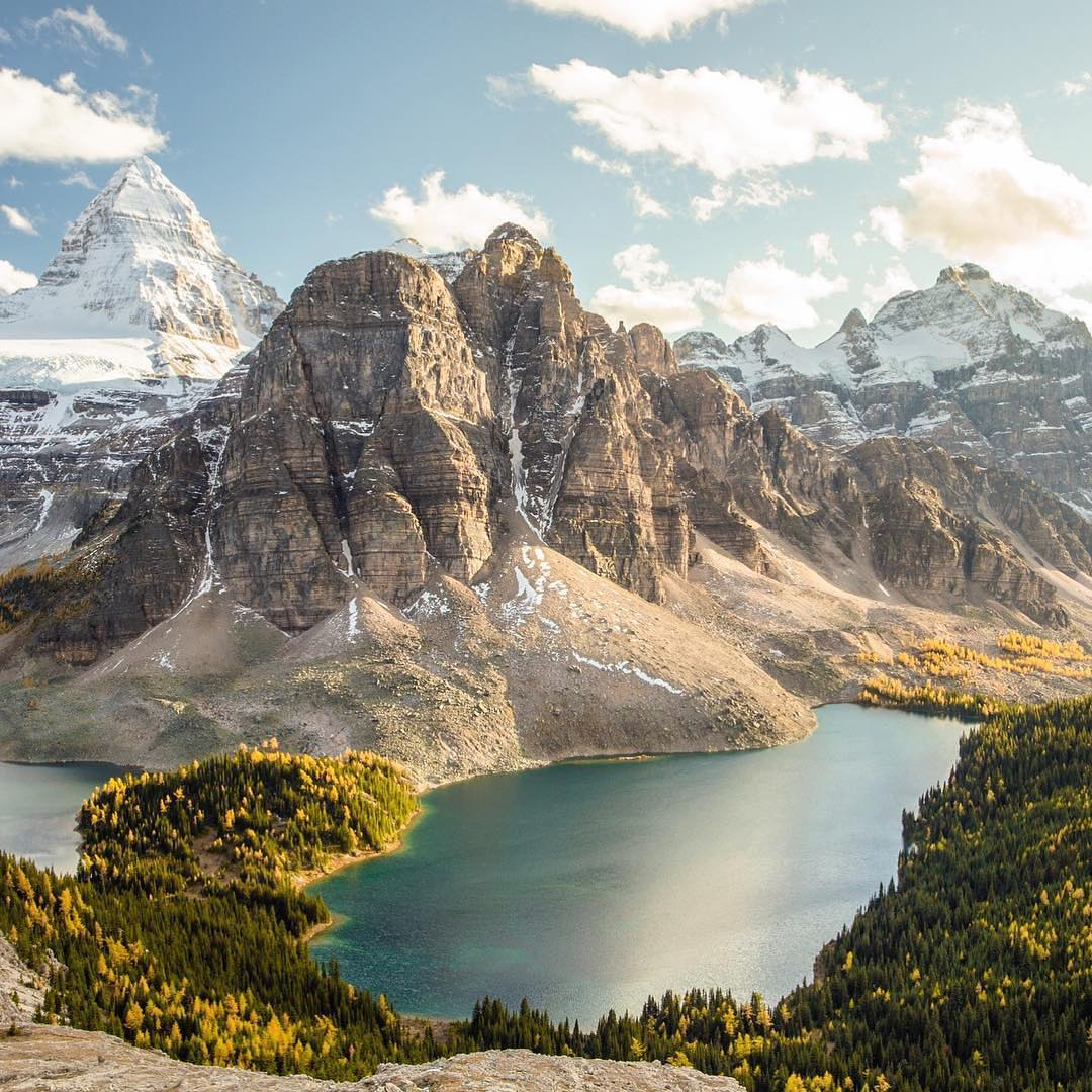 """Due to assiniboine's pyramidal shape, it has been unofficially named the """"matterhorn"""" Mount Assiniboine Alberta Canada Most Beautiful Picture"""