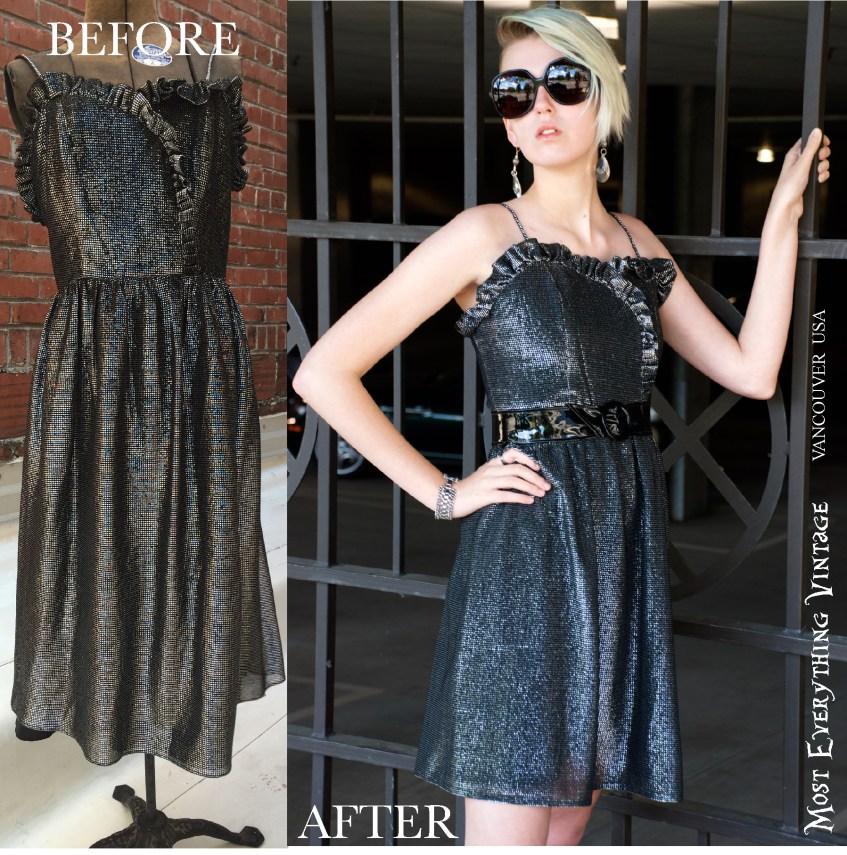 1980's Metallic Dress, Waist 28 in. $42