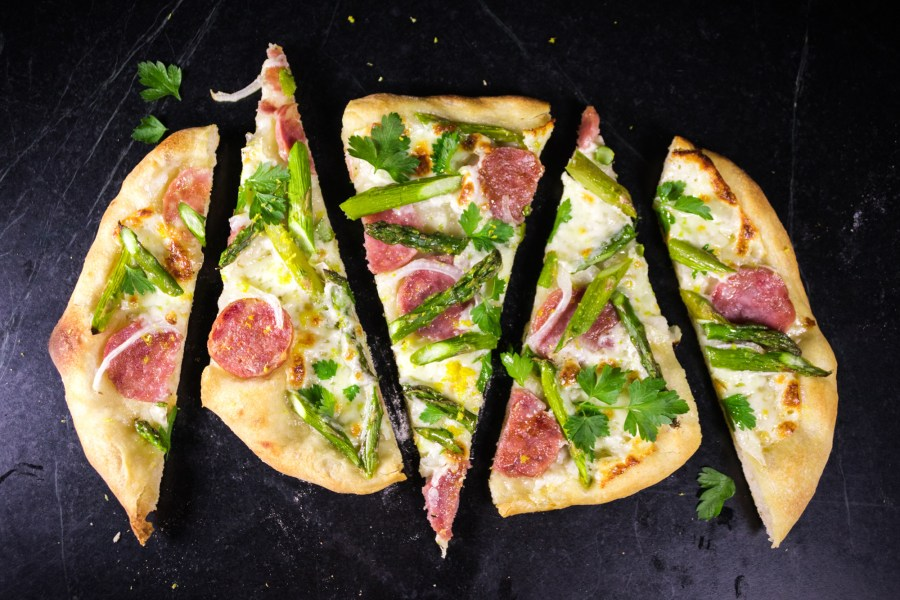 Asparagus Pizza with Soppressata and Lemon Zest