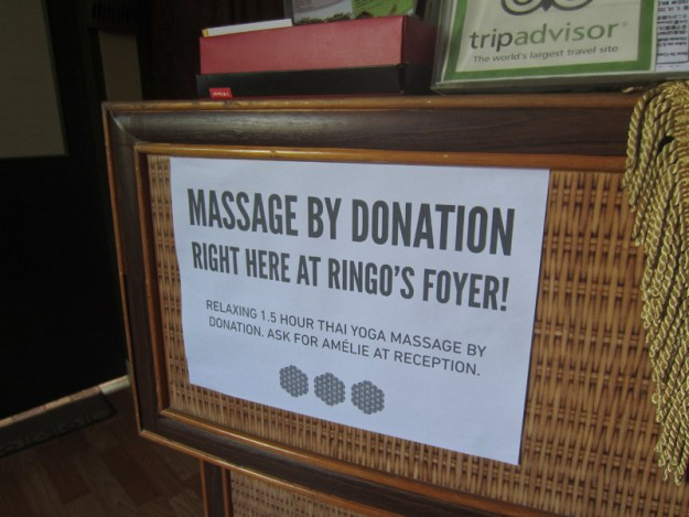 volunteering at a guesthouse in Malacca, Malaysia. Massage by donation