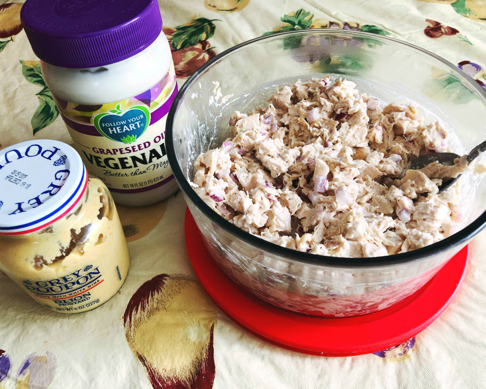 chicken salad with vegenaise and Dijon mustard
