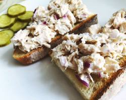 chicken salad with pickles on the side