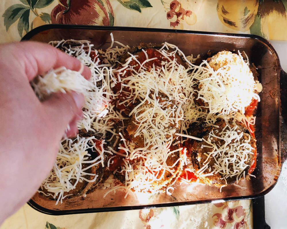 preparing eggplant parmigiana