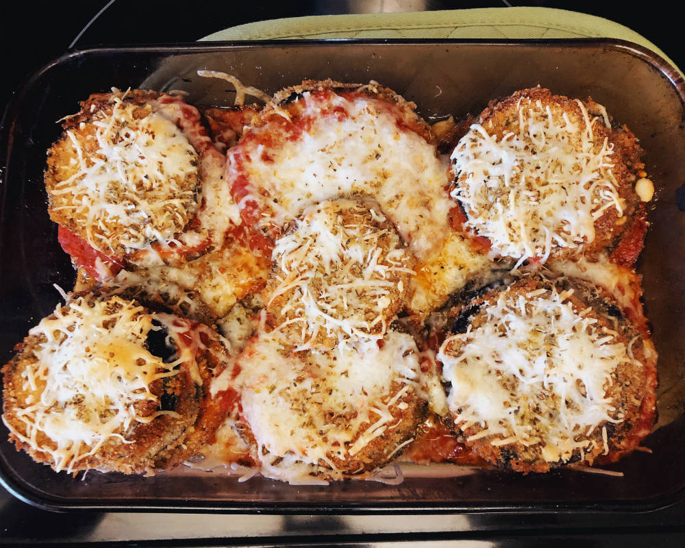 eggplant parmigiana out of the oven