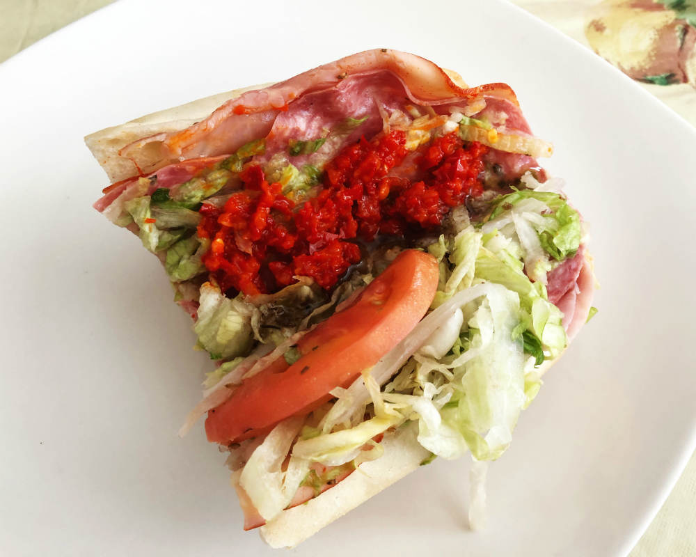 cherry pepper relish on a hoagie