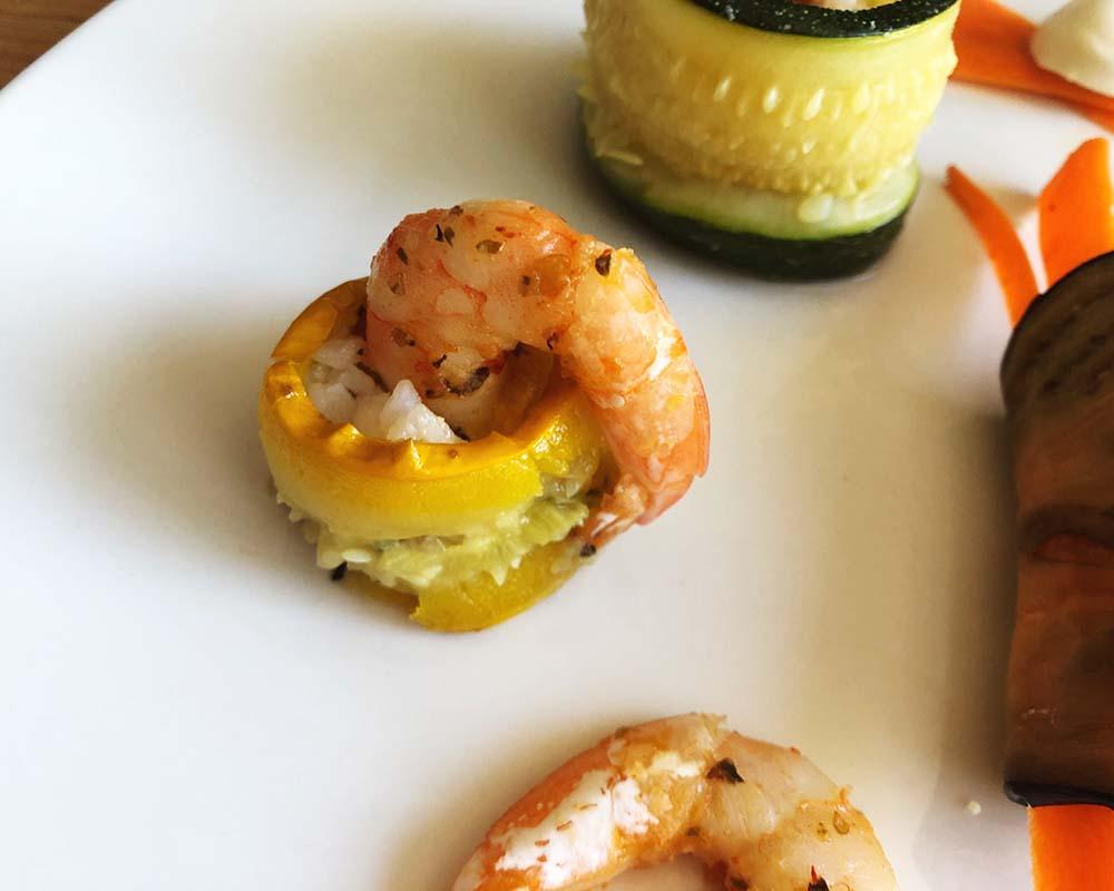 close-up of Squash Sushi with shrimp
