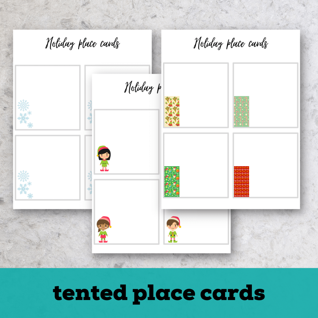 tented christmas place cards