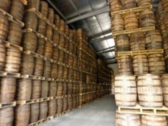 Barrels of rum stacked on each other