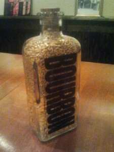 Bourbon bottle with corn