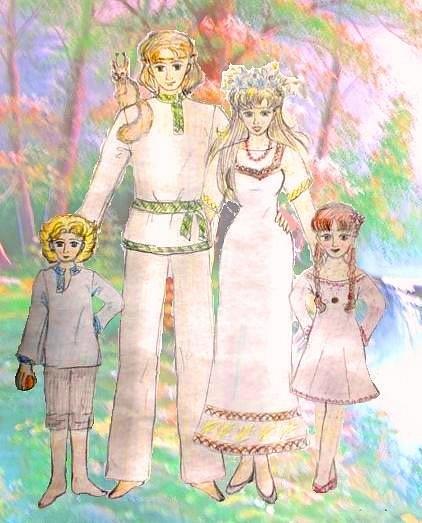 мама, папа, дочка и сынок и белка