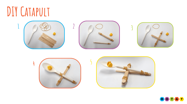 step by step how to make a catapult with popsicle sticks and spoon