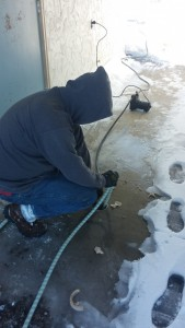 Finding and clearing frozen sewer line