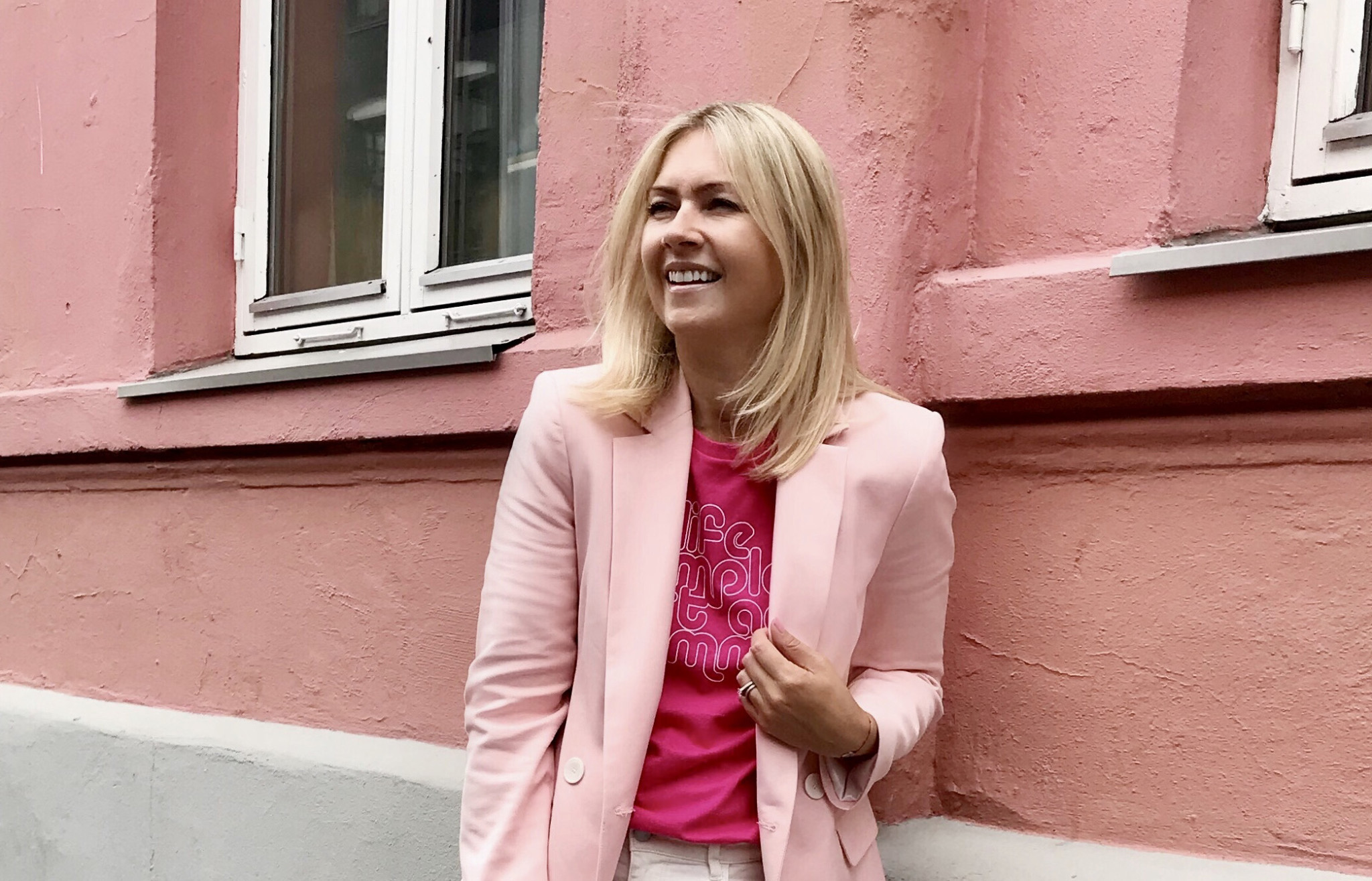 Back to work in pink