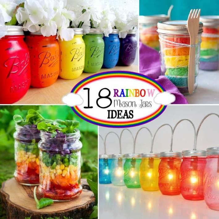 spring decorating ideas, mason jar ideas, rainbows