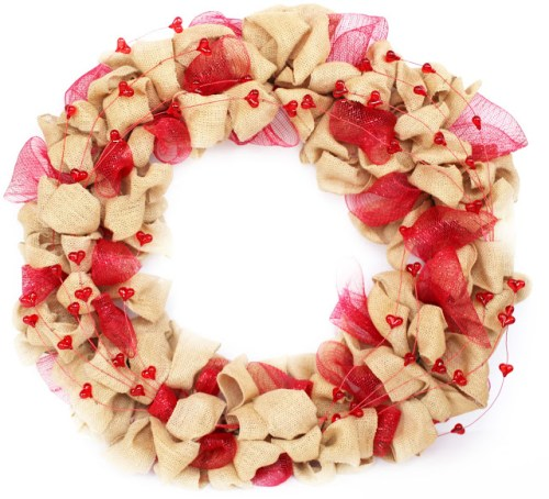 Week 161 Valentine's Day Burlap Wreath from Foxy's Domestic Side