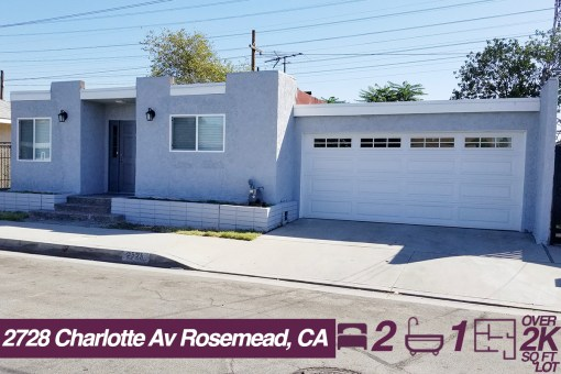 2728 Charlotte Av Rosemead, CA  | 2 BED | 1 BATH | +2K SQ FT LOT