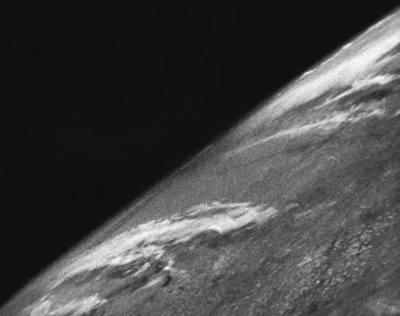 First photo of Earth from space, taken October 24, 1946. Image: US Army/White Sands Missile Range/Applied Physics Laboratory