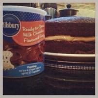 Chocolate cake with Pillsbury icing
