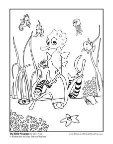 The Little Seahorse Coloring Page 1