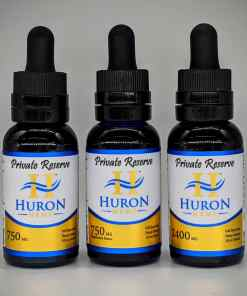 Huron Hemp Private Reserve Full Spectrum 750mg & 2400mg oil. Comes in Peppermint and Natural.