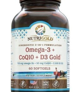 Nutrigold Omega-3 + CoQ10 + D3 Gold. 700mg omega 3s, 50mg CoQ10, & 2,500 IU D3