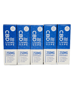 CBD Living Disposable Vape. Five flavors, Tangie, Blueberry, Grapefruit, Bubble Gum, and Natural. Each vape has 250mg of CBD.