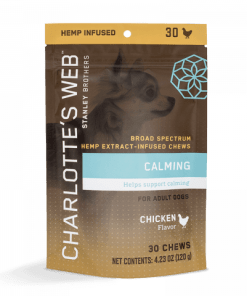 Charlotte's Web Calming Hemp CBD Dog Treats. Chicken flavored soft chews to help relieve stress and anxiety in dogs