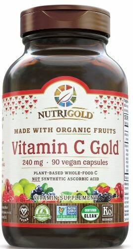 Nutrigold Vitamin C. Each capsule provide 240 mg (270% DV) of organic, whole-food vitamin C for powerful immune defense and antioxidant protection.