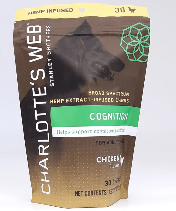 Charlotte's Web Cognition Hemp CBD Dog Treats. Chicken flavored chews for senior dogs.