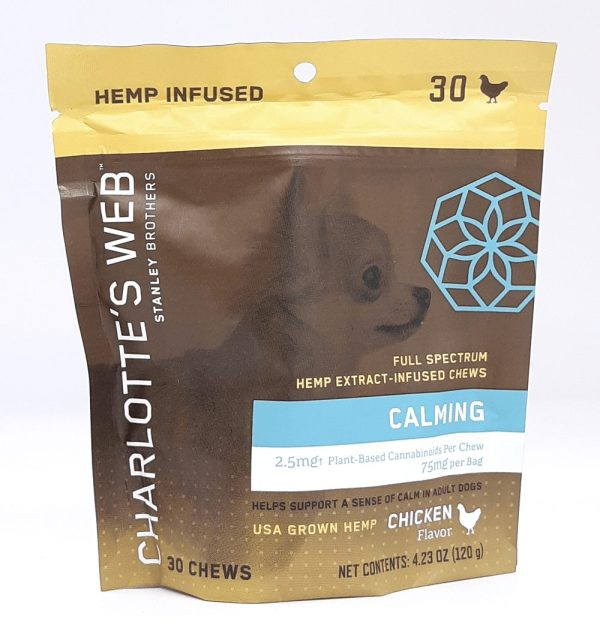 Charlotte's Web CBD Dog Treats. Chicken flavored soft chews to help relieve stress and anxiety in dogs. Chews are a great on the go item for your pet!