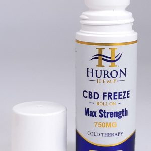 Huron Hemp CBD Freeze Roll On 750mg Max Strength. Cold therapy mixed with menthol for fast cooling relief