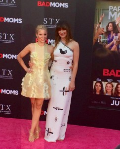 Kristen Bell and Kathryn Hahn at the Bad Moms premiere July 26th