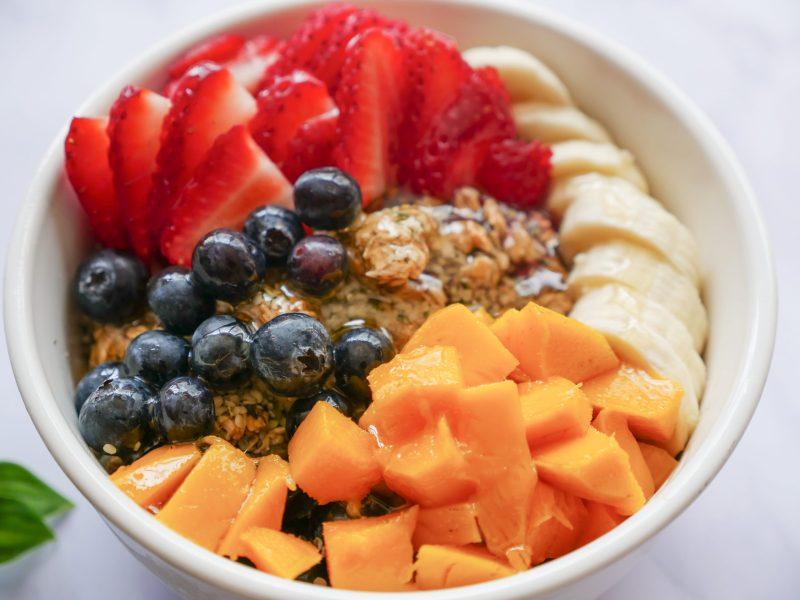 fruit on acai bowl