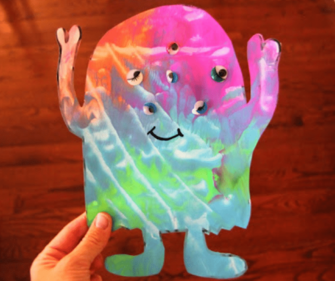 Mess Free Monster Painting - Halloween Crafts for Toddlers
