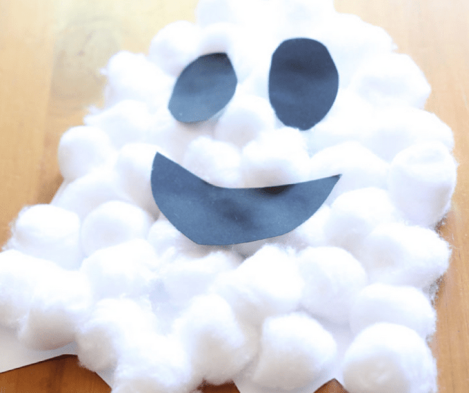 Puffy Ghosts - Halloween Crafts for Toddlers