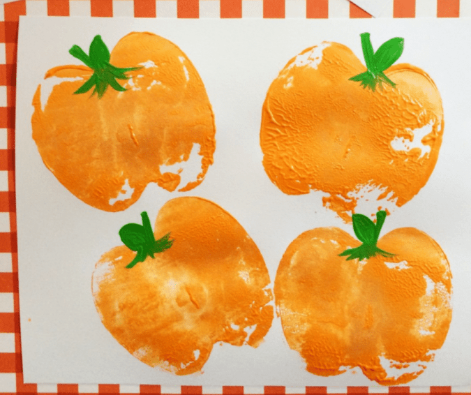 Pumpkin Apple Stamps - Halloween Crafts for Toddlers