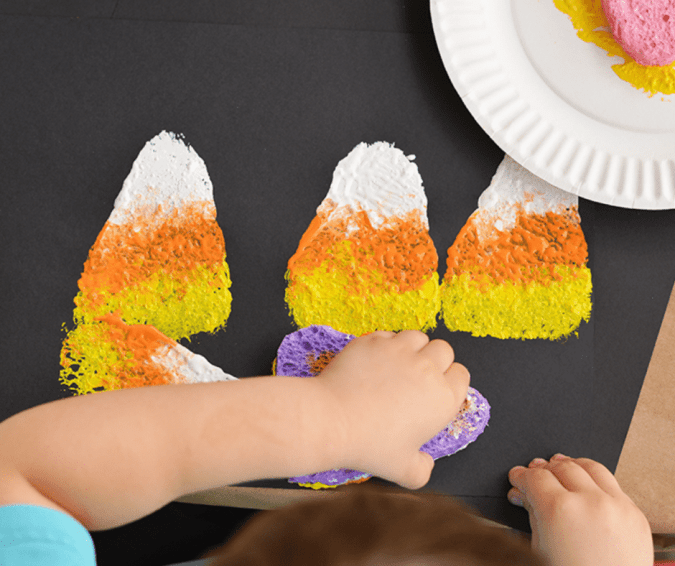Sponge Painted Candy Corn - Halloween Crafts for Toddlers