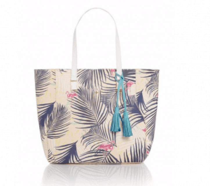 Tote bag with palm and flamingo pattern