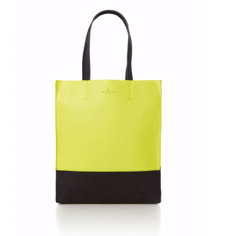 Yellow and black patterned tote bag