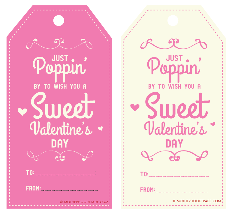 photo relating to Printable Tag named Poppin by means of in the direction of motivation oneself a cute valentines working day! (Cost-free
