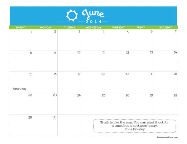 june-2014 calendar