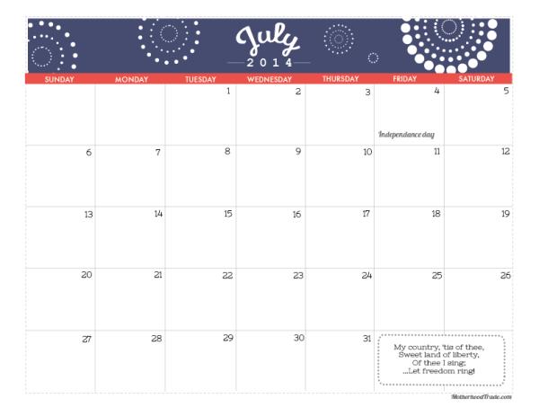 2014 calendars_July 2014 Calendar