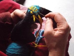 mending a sock